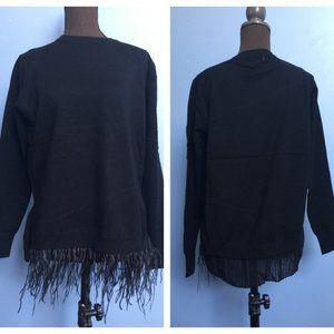 Neiman Marcus Ruffle Feather-Hem Sweater